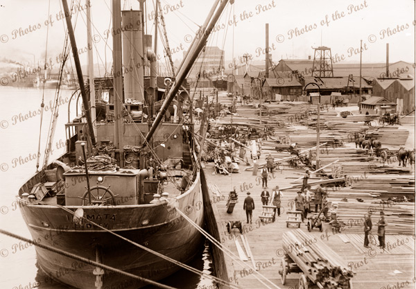 Shipping at Timber Wharf, Port Melbourne with SS IHUMATA. Vic 1910s. victoria