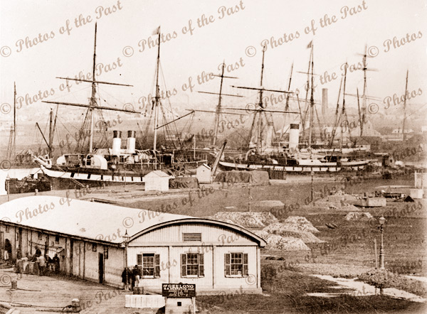 Shipping at Queen's Wharf, Geelong, Victoria. 1880s
