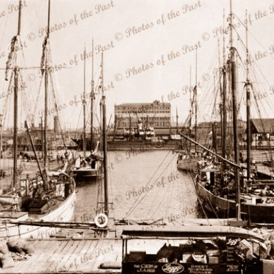 Little Dock, Melbourne. VIC. Ketch LEETA MAY on left. Shipping