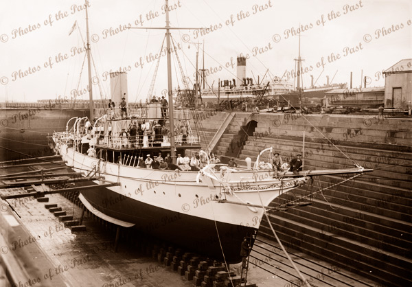 Steam yacht FRANKLIN ex ADELE in Dry Dock, Melbourne. Late 1910s. Shipping