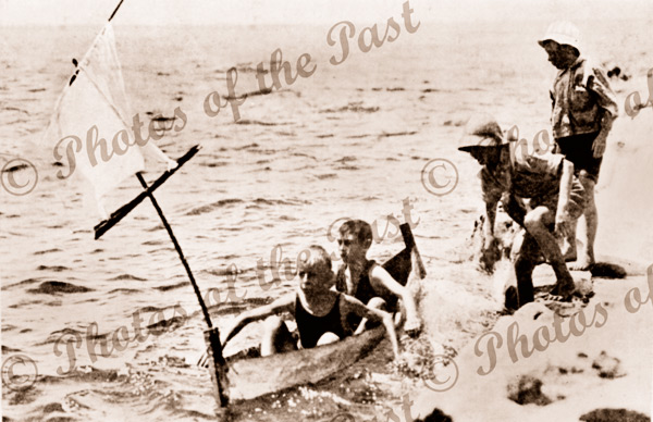 The Call of the Sea (2 boys in a tin canoe with sail) c1920s