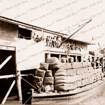Loaded wool barge HORACE at Echuca Vic.Victoria. 1890s. Murray River