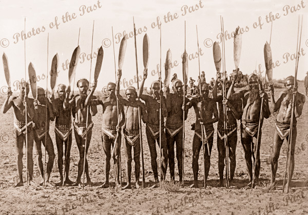Aboriginal group with spears & woomeras, Central Australia. c1950s