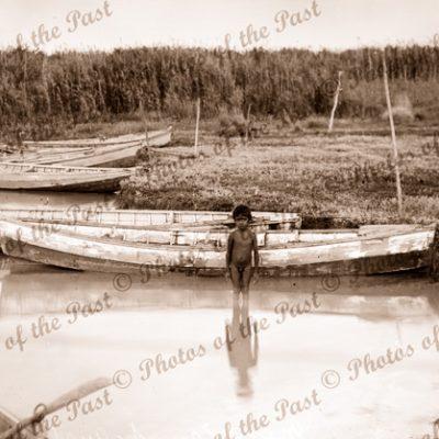 Rowing skiffs & Aborigine boy at Meningie, SA. South Australia. Boating. 1934