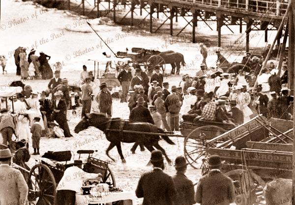 Commemoration Day at Glenelg, SA. 1890s. South Australia. beach. jetty