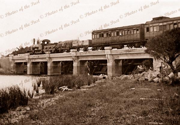 Train crossing bridge Victor Harbor. c1905. rail. South Australia.