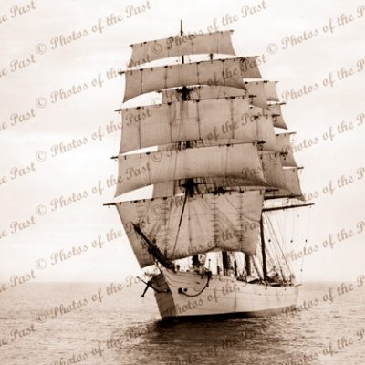 4M Barque BEATRICE under sail (bow view). Tall ship. Built 1881