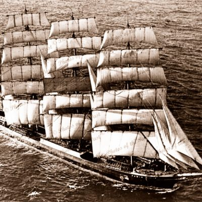 4M Barque PAMIR under sail. Aerial view. Shipping. Tall ship. 1930s
