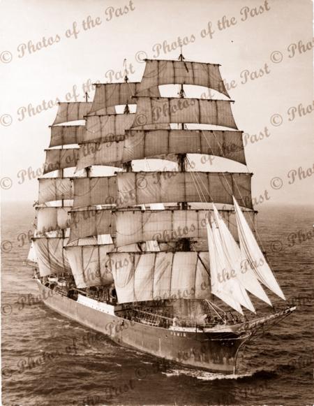 4M Barque PAMIR under sail. Aerial view. Shipping. Tall ship. 1930s