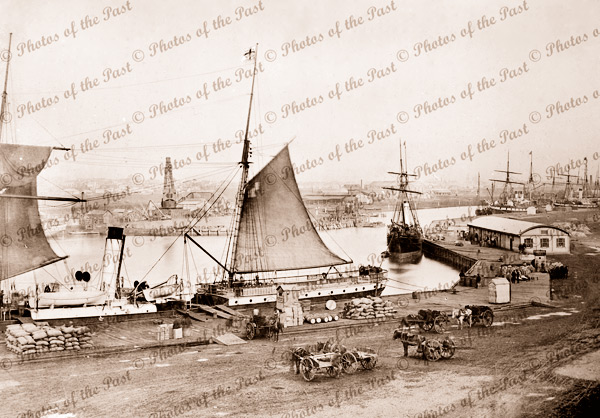Queens Wharf, Port Melbourne, Vic. 1870s. Victoria. Shipping
