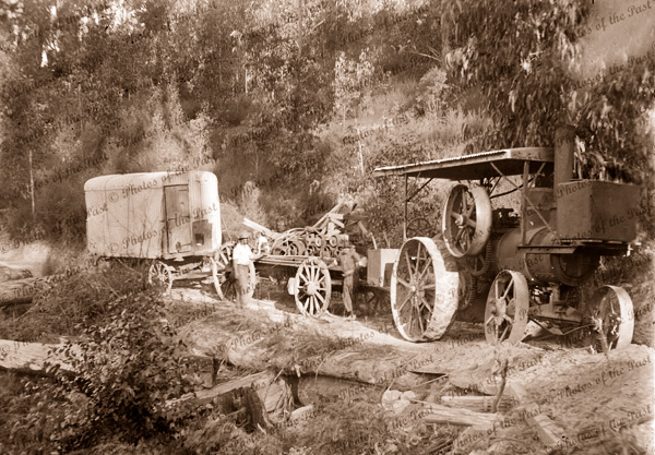 Traction engine at sawmill. c1910
