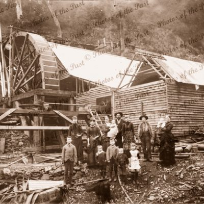 Family groups in front of mining operations. Western Victoria. c1880s Water wheel