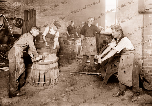 Coopers making barrels at Carlton Brewery, Victoria. c1920s