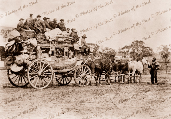 Stage coach laden with Chinese enroute to the Goldfields. Vic. c1910s. Victoria. goldrush