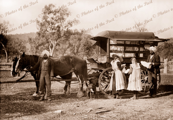 Indian Hawkers with van and customers, Vic.Victoria c1905
