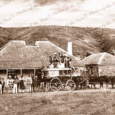 Old 'Horseshoe Inn' at Noarlunga, SA. South Australia. 1860. Horse and carriage