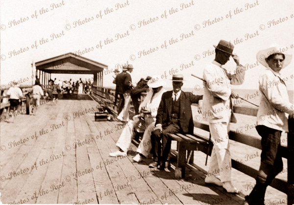 Fishing - Grange Jetty, SA. South Australia. 1923 (looking seawards)