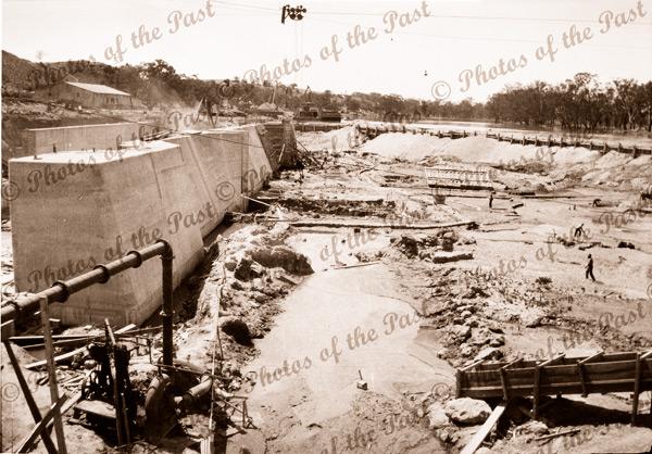 Construction of Lock 2 at Waikerie, SA. South Australia. 1928. Murray River
