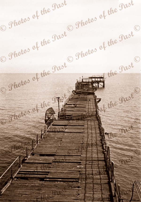 Largs Bay jetty after the storm. SA. South Australia. 1953