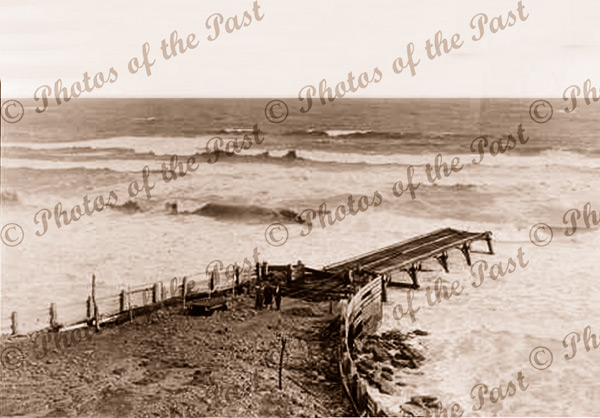 Old Port Willunga jetty after the storm. SA.1915. South Australia