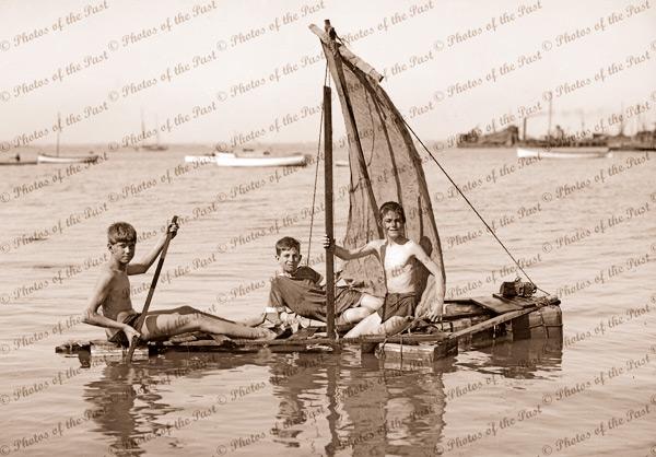 Sailing adventure. Boys on raft. c1930s