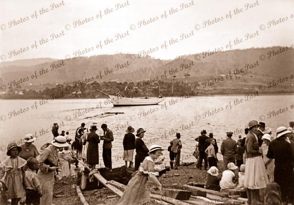 Launching of auxillary ketch MIENA at Port Cygnet, Tasmania. Shipping. 1935