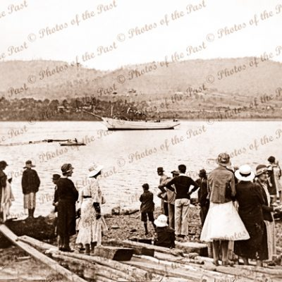 Launching of ketch MIENA at Port Cygnet, Tasmania.1935. Shipping