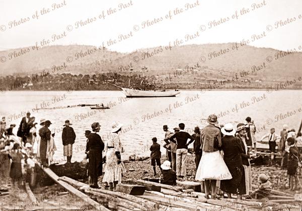 Launching of ketch MIENA at Port Cygnet, Tasmania.1935. Shipping