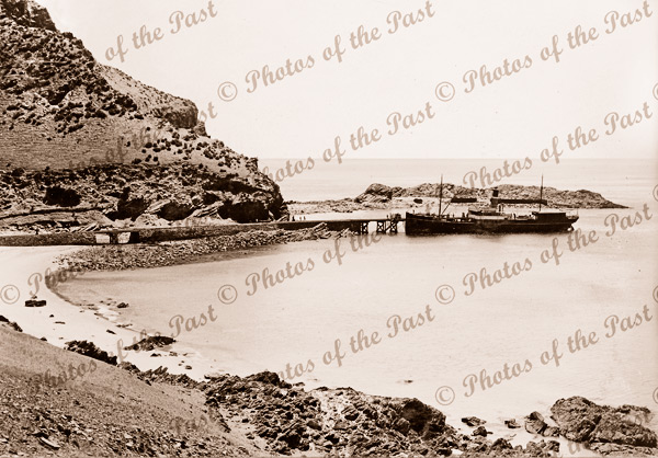 View across beach to steamer SS KARATTA at Second Valley jetty, SA. South Australia. c1910. Shipping