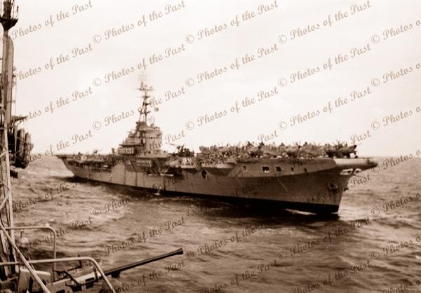 HMAS SYDNEY from HMAS VENGEANCE. 1954. Aircraft carrier