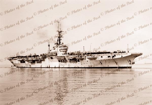 HMAS VENGEANCE at Melbourne, Victoria. 1953. Aircraft Carrier