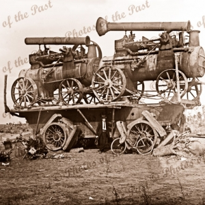 Big Lizzie's trailer with 2 steam traction engines. Giant Tractor, 1920s