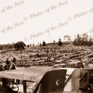 Oakbank Race Meeting, SA. South Australia. c1926. Horse racing. Cars
