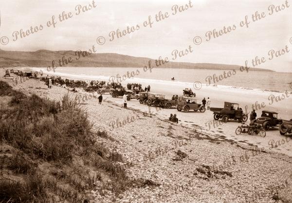 Crowd on Sellicks Beach, SA. Motor bike races. South Australia. c1926