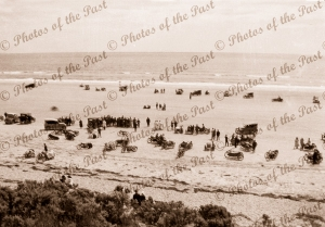 Crowd on Sellicks Beach, SA. Motor bike races. South Australia. c1926