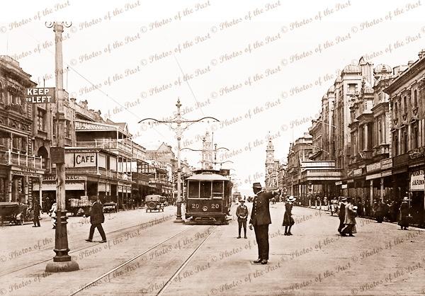 King William Street. Adelaide, SA. South Austra;ia. 1920s trams