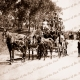 Passenger coach leaving Blackwood Railway Station. SA. Horse drawn. South Australia. 1910