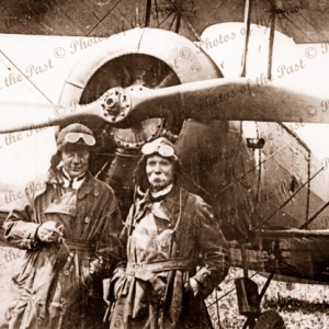 Aviator Harry Butler & TJ Richards with bi-plane. c1919