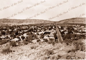 Alice Springs township from Anzac Hill (Billy Goat Hill), NT. Northern Territory. 1950s