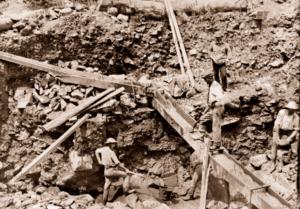 Sluice gold mining, Ballarat, Vic. c1861. Victoria