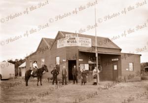 Cocanba General Store, Vic. John McGibb Proprietor. c1940. Victoria. Man on horse