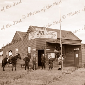 Cocanba General Store, Vic. John McGibb Proprietor. c1940. Victoria. Man on horse