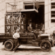 Fire or pole maintenance truck with elevating platform, c 1910s