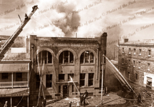 Fighting the Dunlop Fire, Flinders Street, Adelaide, SA. 21 October 1940
