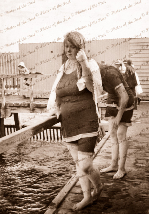 Bather (Nell) at the Causeway Baths, Victor Harbor, SA. South Australia. C1900s