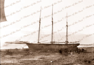 3m schooner LEMAEL ashore after storm, Largs Bay, SA. South Australia. Shipping. 1901