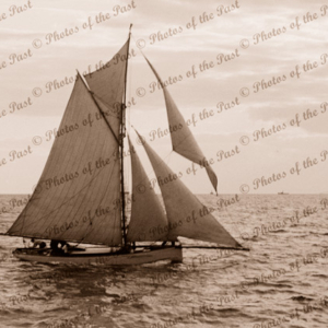 Yacht GALATEAH under sail at St. Kilda, Victoria. C1901. Sailing