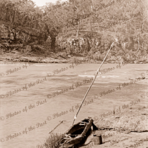 Aboriginal bark canoe, with out-rigger, on river bank, c1890
