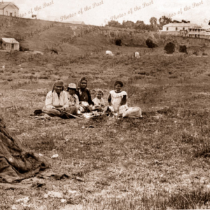 Aboriginal group sitting on grass. Victor Harbor, South Australia, c1890s