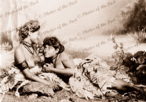 Girls from Fiji, telling tales. c1920s